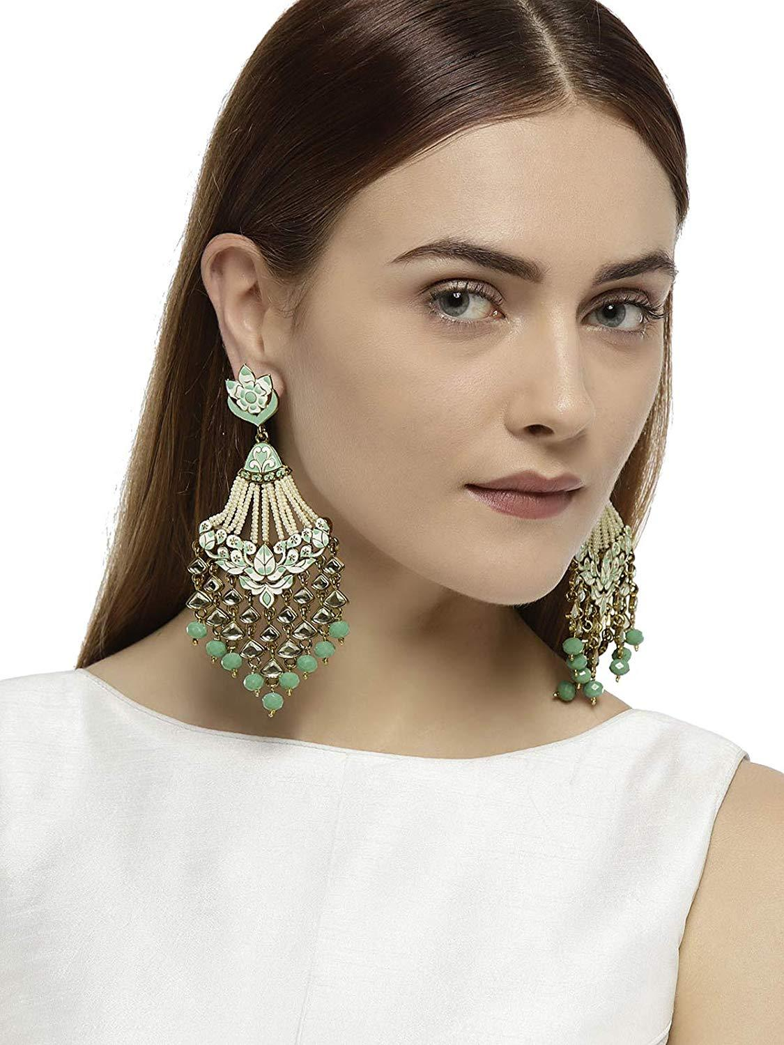 Antique Gold Tone Embellished With Pearls & Meenakaari Dangle Earring