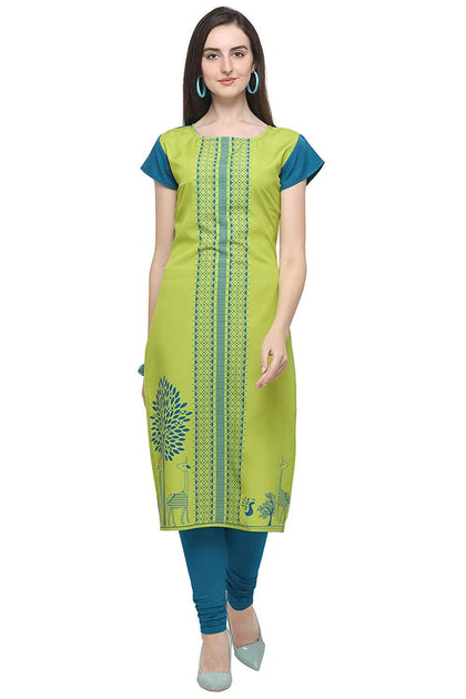 Women' Light Green Colour Short Sleeve Crepe Straight Kurta