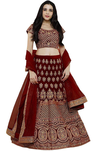 Women's Embroidered Taffeta Satin Lehenga Choli - iZiffy.com
