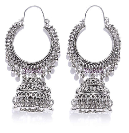 Afghani Kashmiri Jhumka Oxidized Silver Earrings - iZiffy.com
