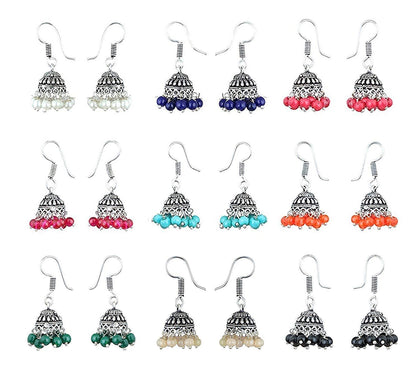 Combo Lively Colors Golden Silver Oxidized Traditional Stud ChandBali Jhumki - iZiffy.com