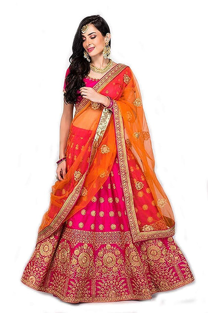 Flaray Women's Pink Heavy Embroidered Taffeta Silk Lehenga Choli - iZiffy.com