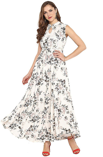 Flaray Women's Rayon Floral Print Flared Gown - iZiffy.com