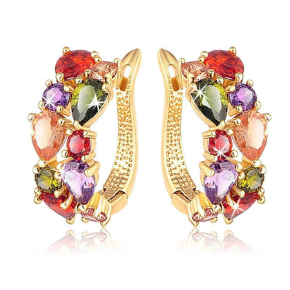 Flaray Sparkling Colors Flowerets Vine Swiss CZ Clip On Earrings - iZiffy.com