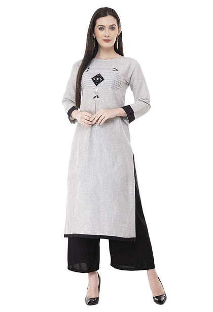 Flaray Women Stitched Embroidered Straight Cotton Kurti - iZiffy.com
