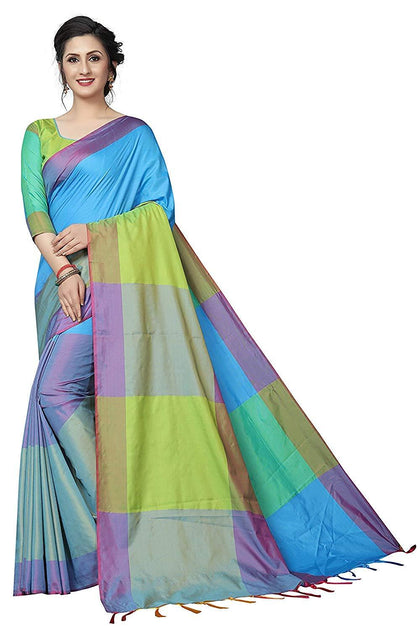Women's Cotton Silk Solid Saree With Blouse Piece - iZiffy.com