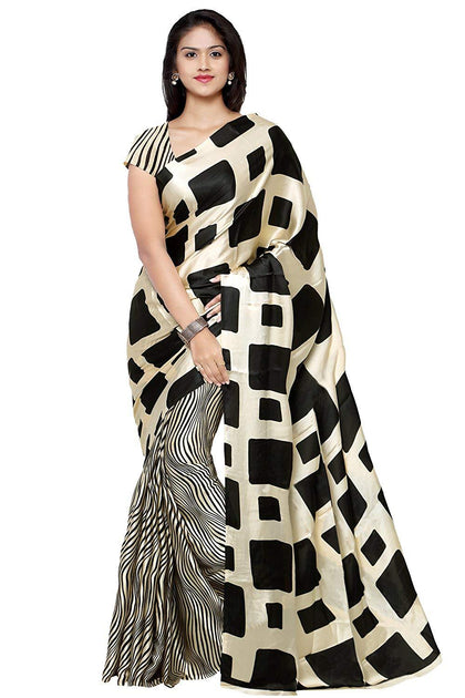 Flaray Crepe Saree With Blouse Piece - iZiffy.com