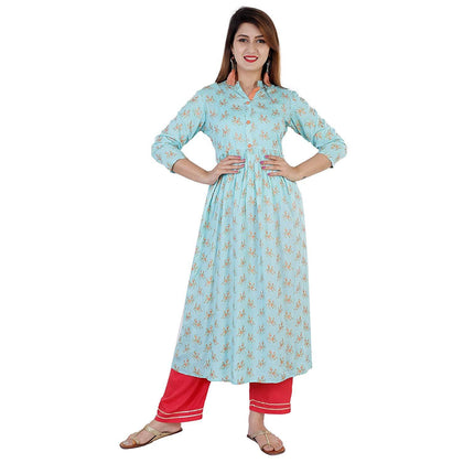 Flaray Women's Rayon Embroidered Ankle Length Anarkali Kurti (Maroon) - iZiffy.com