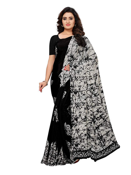 Flaray Women's Crepe Floral Printed Saree with Blouse - iZiffy.com