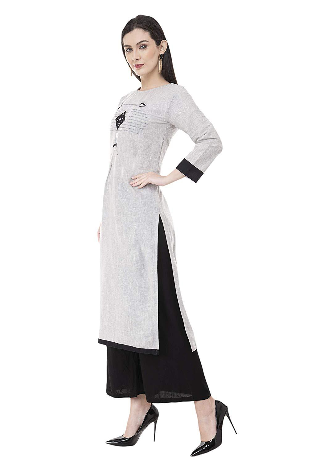 Flaray Women Stitched Embroidered Straight Cotton Kurti