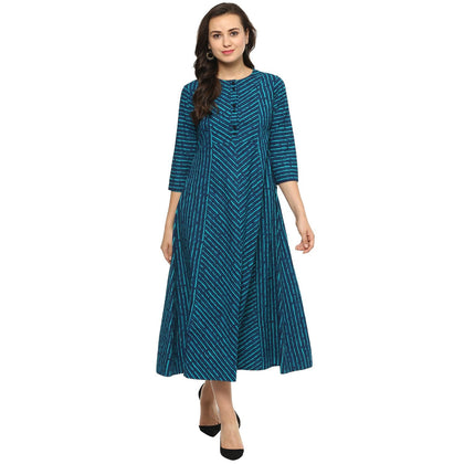 Flaray Women cotton Teal Striped Flared Kurta - iZiffy.com