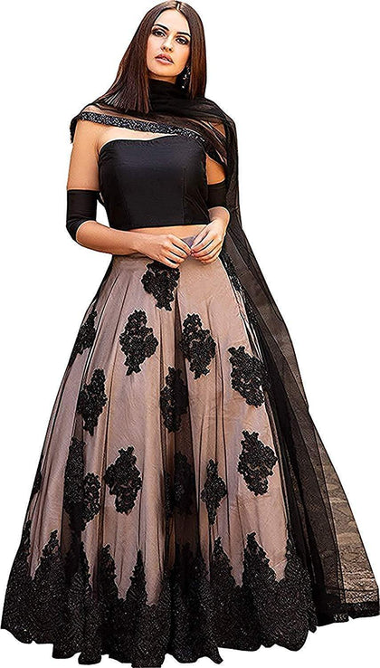 Flaray women's Embroidered multi colour Semi Stitched lehenga - iZiffy.com