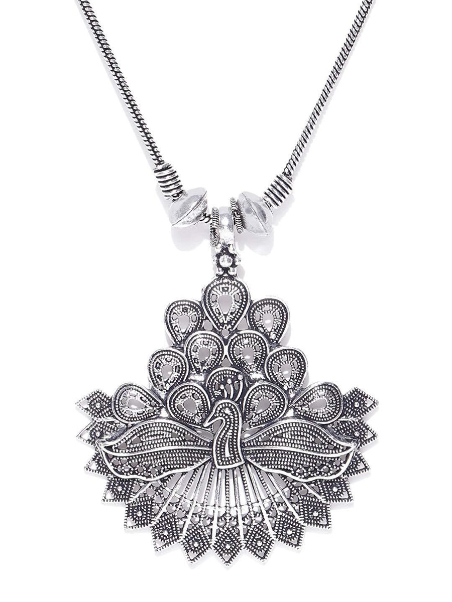 Sawarna Sterling Silver 925 Peacock Pendant Necklace Mandala With Earings - iZiffy.com