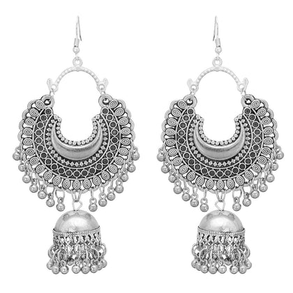Flaray Afgani Chand German Silver Oxidized Jhumki Earrings for Women - iZiffy.com