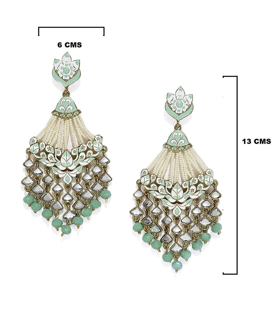 Antique Gold Tone Embellished With Pearls & Meenakaari Dangle Earring - iZiffy.com