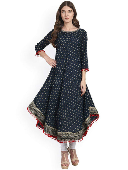 flaray Women's Cotton Anarkali Kurti(Blue) - iZiffy.com