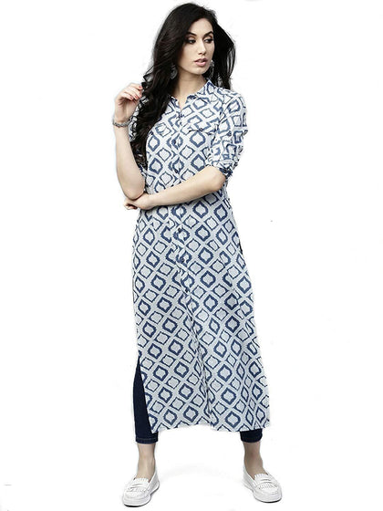 Flaray Women Stitched Straight White Blue Printed Cotton Kurti - iZiffy.com