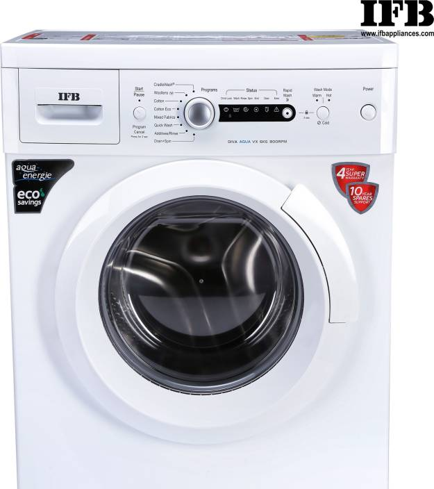 IFB 6 kg 2D Wash Fully Automatic Front Load with In-built Heater White  (Diva Aqua VX) - iZiffy.com