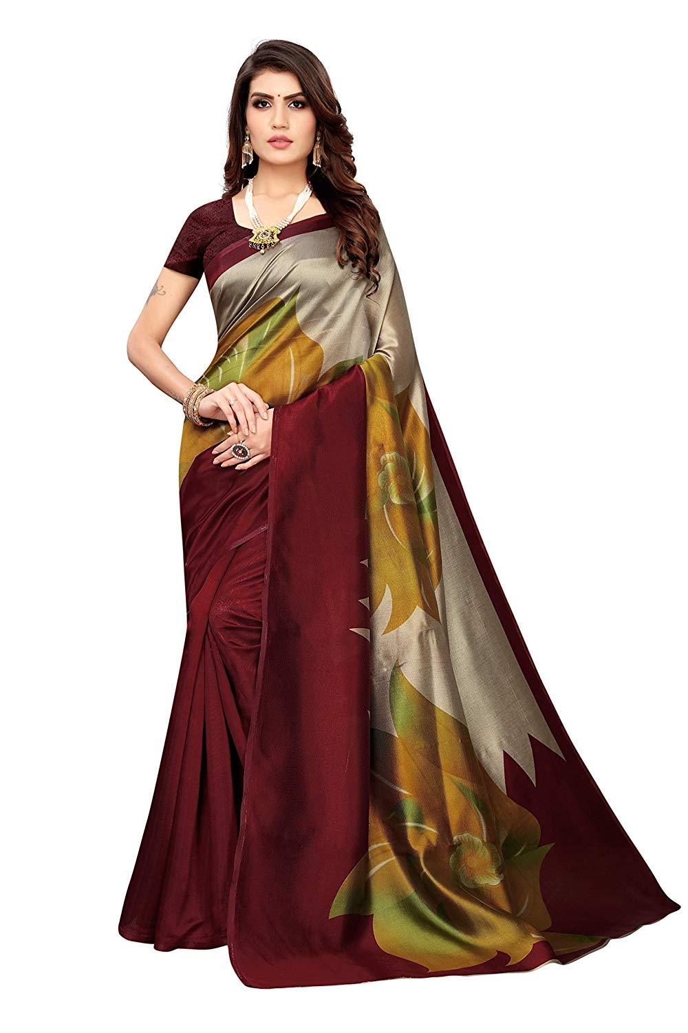 Designer Art Silk Saree with Blouse Piece