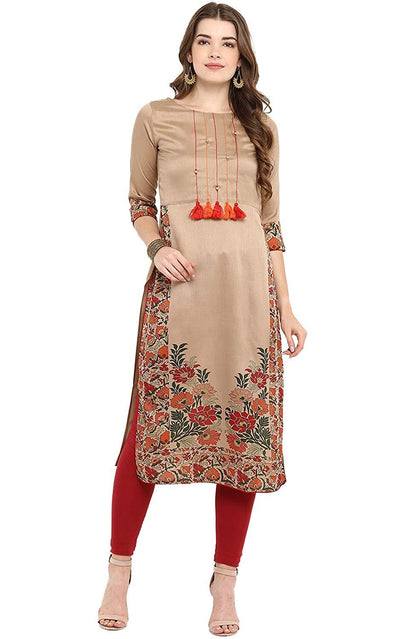 Women's Brown Poly Silk Straight Floral Print Kurta