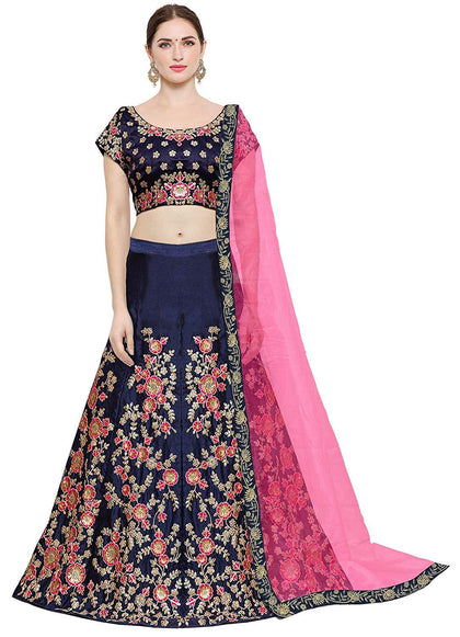 Women's Taffeta Silk Lehenga Choli with Blouse Piece