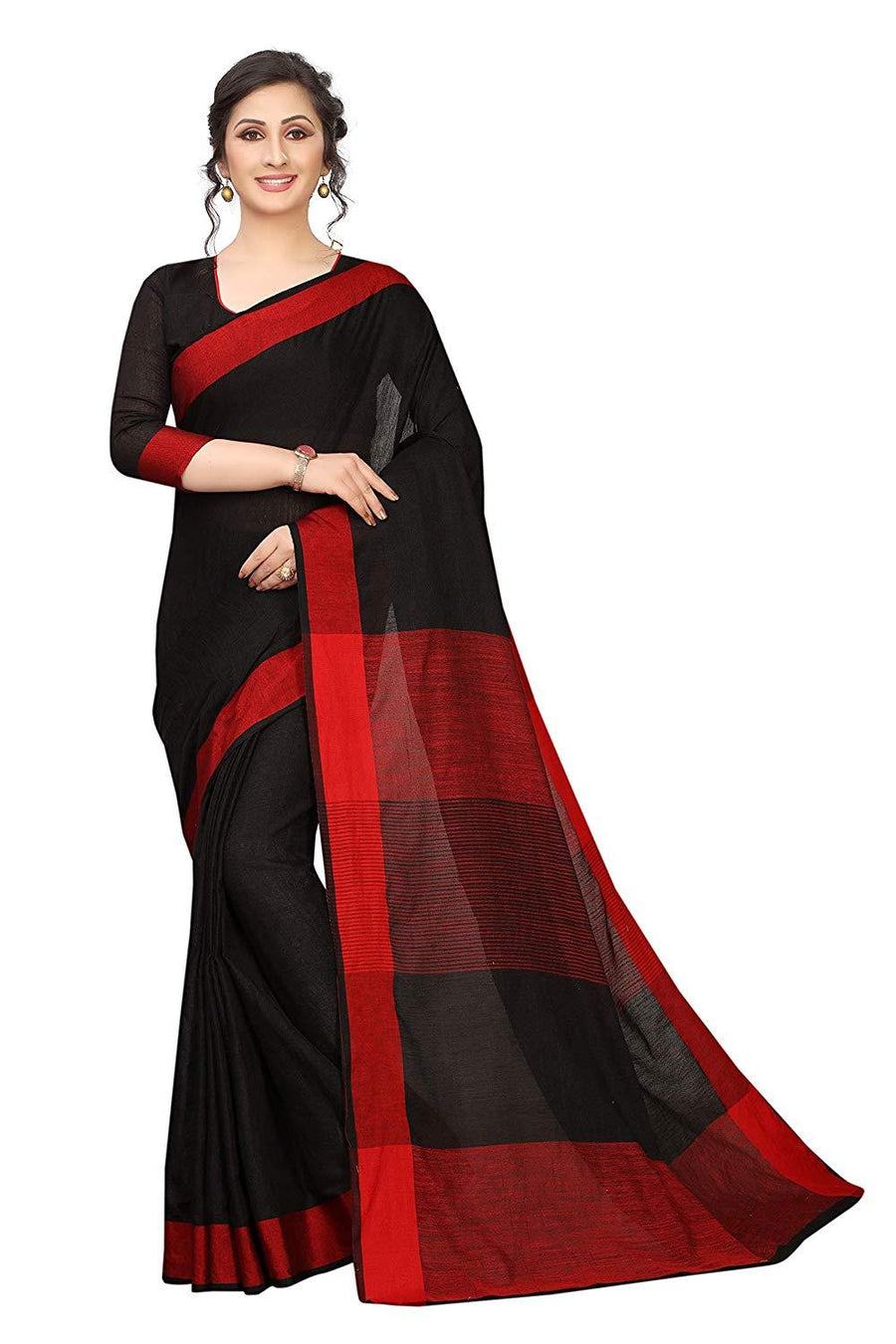 Women's Linen Saree With Blouse Piece - iZiffy.com