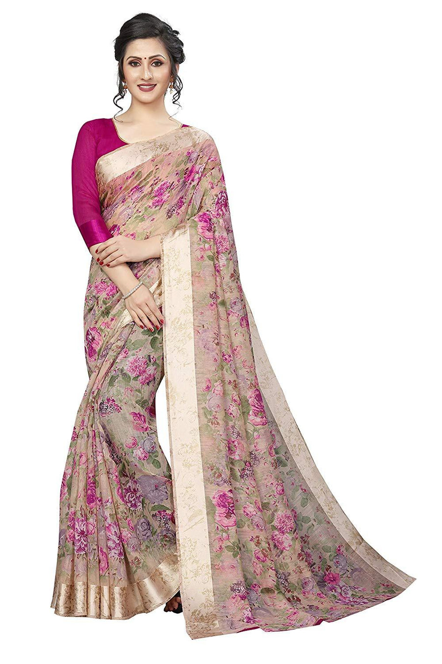 Flaray Women's Blend Linen Saree with Unstitched Blouse Piece - iZiffy.com