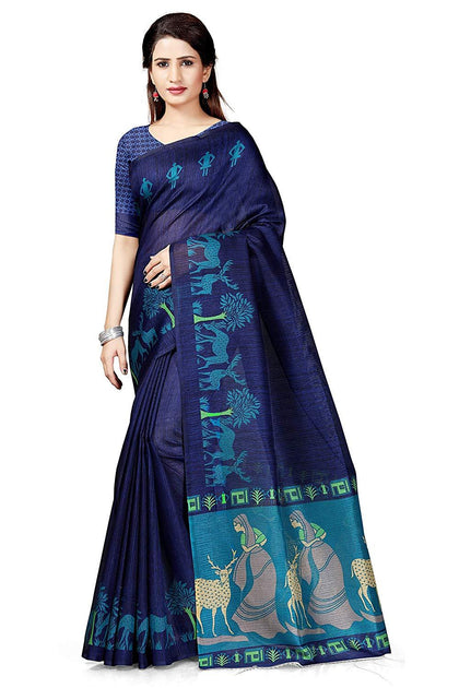 Art Silk with Blouse Piece Saree Navy Blue - iZiffy.com
