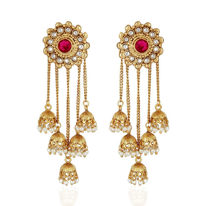 Flarat Fashion Gold Plated Stylish Pearl Jhumka Jhumki - iZiffy.com