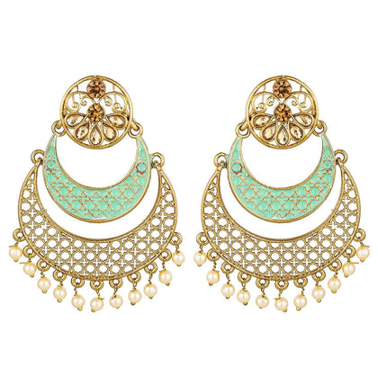 Partywear Gold Plated Meenakari Traditional Dangler Chandbali jhumki - iZiffy.com