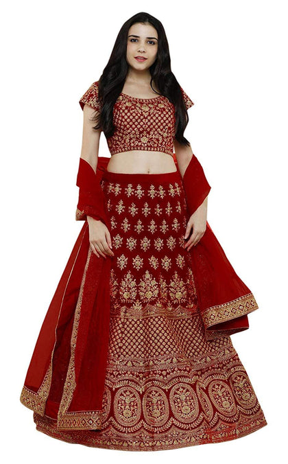 Flaray Women's Pure Silk Embroidered Semi stitched Lehenga choli with Dupatta