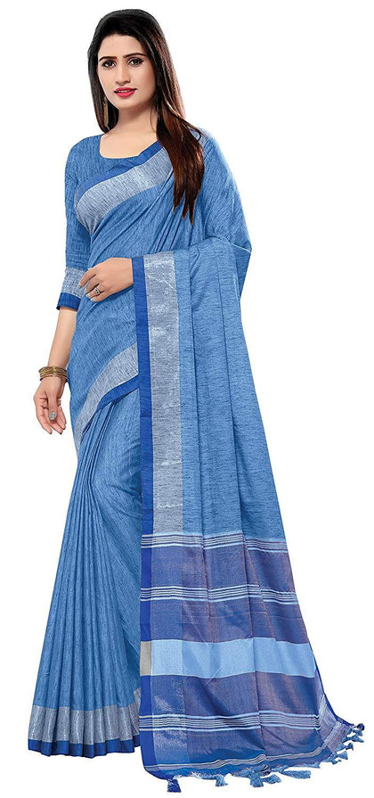 Flaray Wedding Wear Linen Cotton Saree For Women