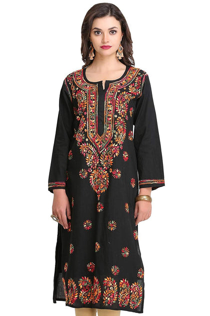 Flaray Hand Embroidered Lucknow Chikan Regular Wear Cotton Kurti - iZiffy.com