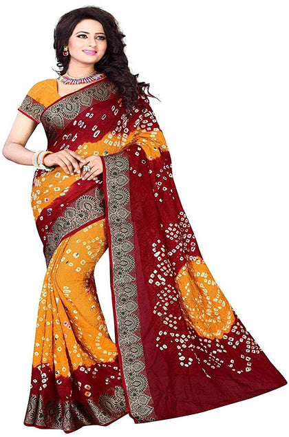 Mysore Silk Saree With Blouse Piece (maroon bandhani)