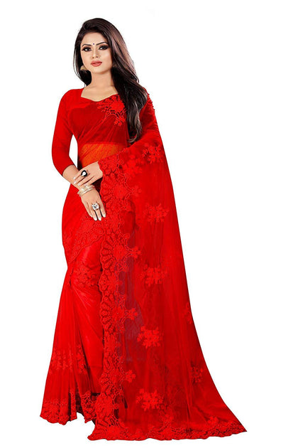 Flaray Women's Net Embroidery Work Saree With Blouse Piece. - iZiffy.com