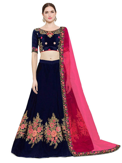 Flaray Women's Silk Embroidery Lehenga Choli With Blouse Piece