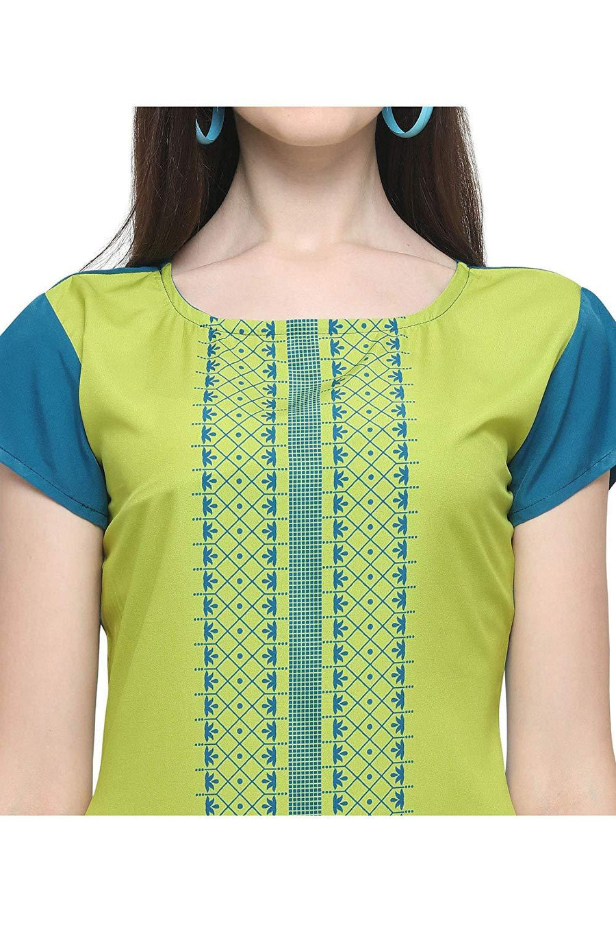 Women' Light Green Colour Short Sleeve Crepe Straight Kurta - iZiffy.com