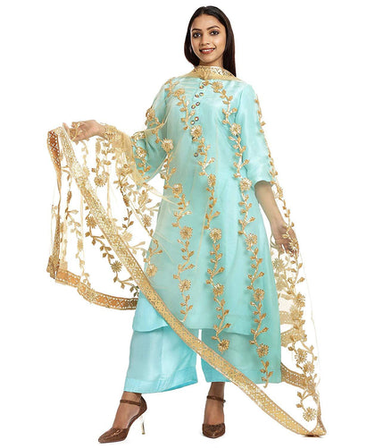 Flaray Women's Net and Lace Gota Patti Dupatta
