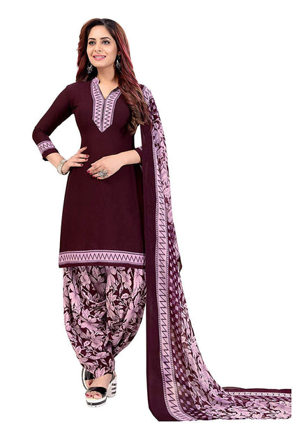 Women's Printed Unstitched Patiala Crepe Georgette Suit Salwar Suit Material - iZiffy.com