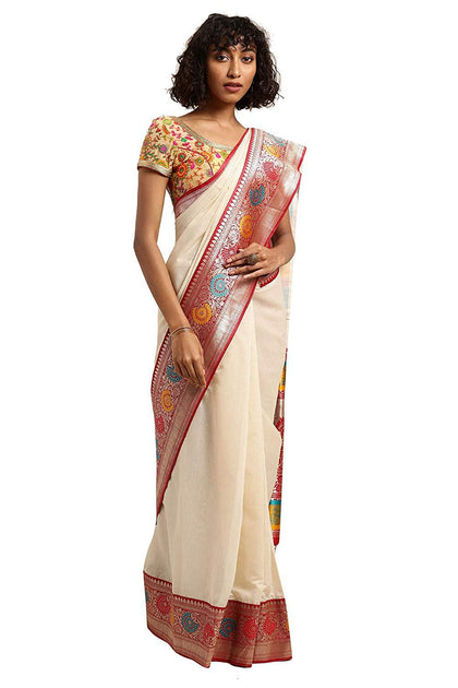 Varkala Silk Sarees Women's Soft Cotton Blend Woven Design Banarasi Saree (Free size)