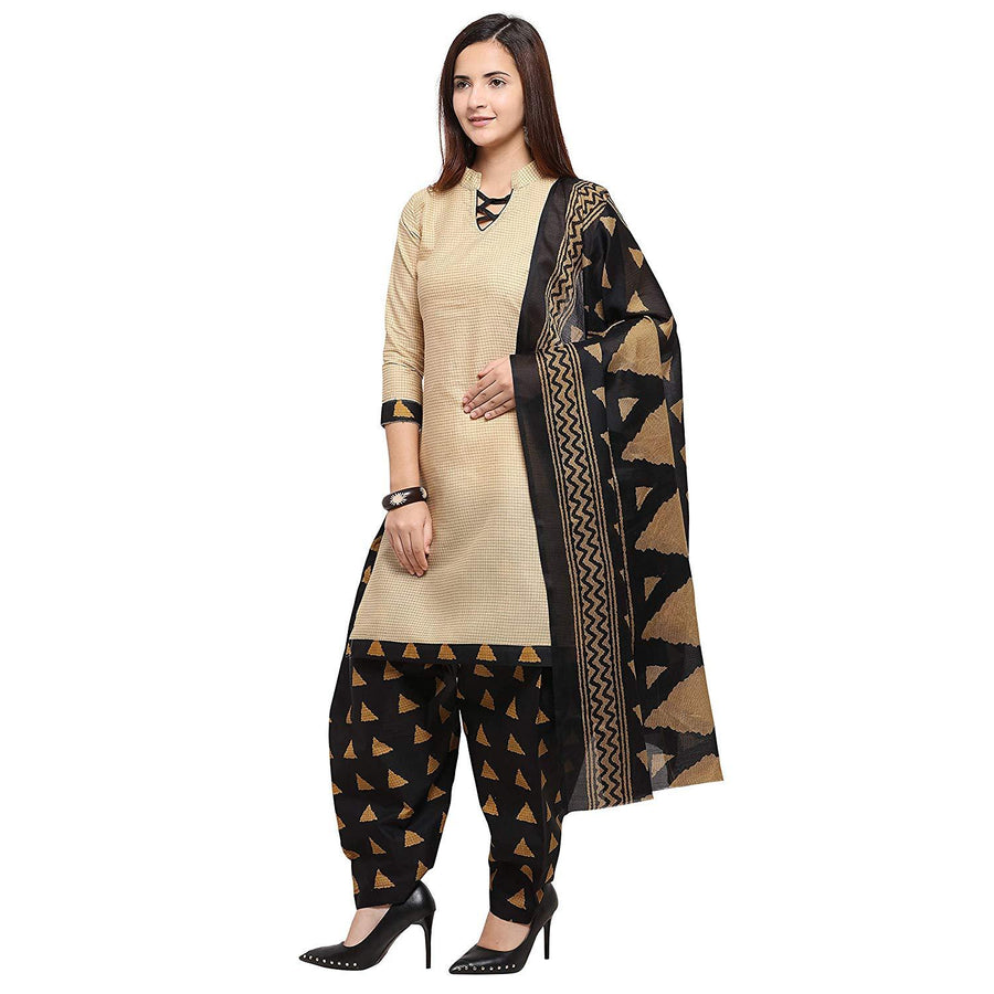 Women's Beige And Beige Cotton Printed Unstitched Dress Material(Combo Of 2) - iZiffy.com