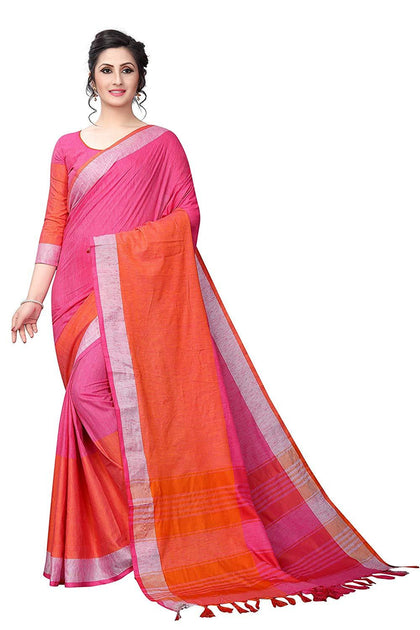 Flaray Women's Linen Saree With Blouse Piece