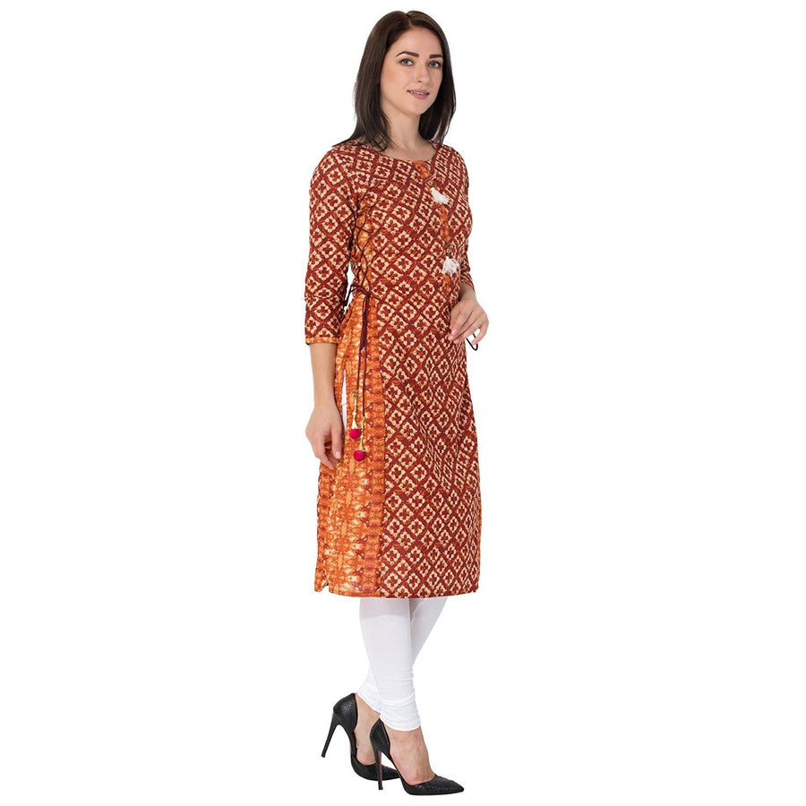 flaray Jaipur Women's Cotton Straight Kurti (Red) - iZiffy.com