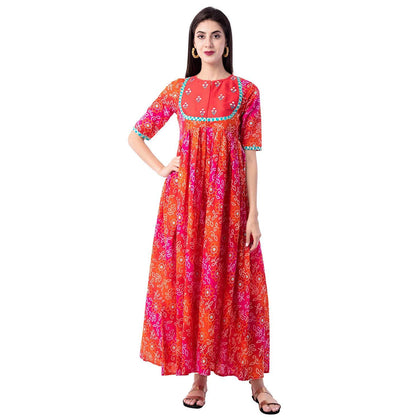 Flaray Women's Cotton Printed Flared Kurta(Orange) - iZiffy.com