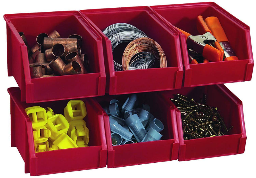 Stack-On Bin-503-Pack Small Parts Storage Organizer Bin, 6 Pack, Red - iZiffy.com