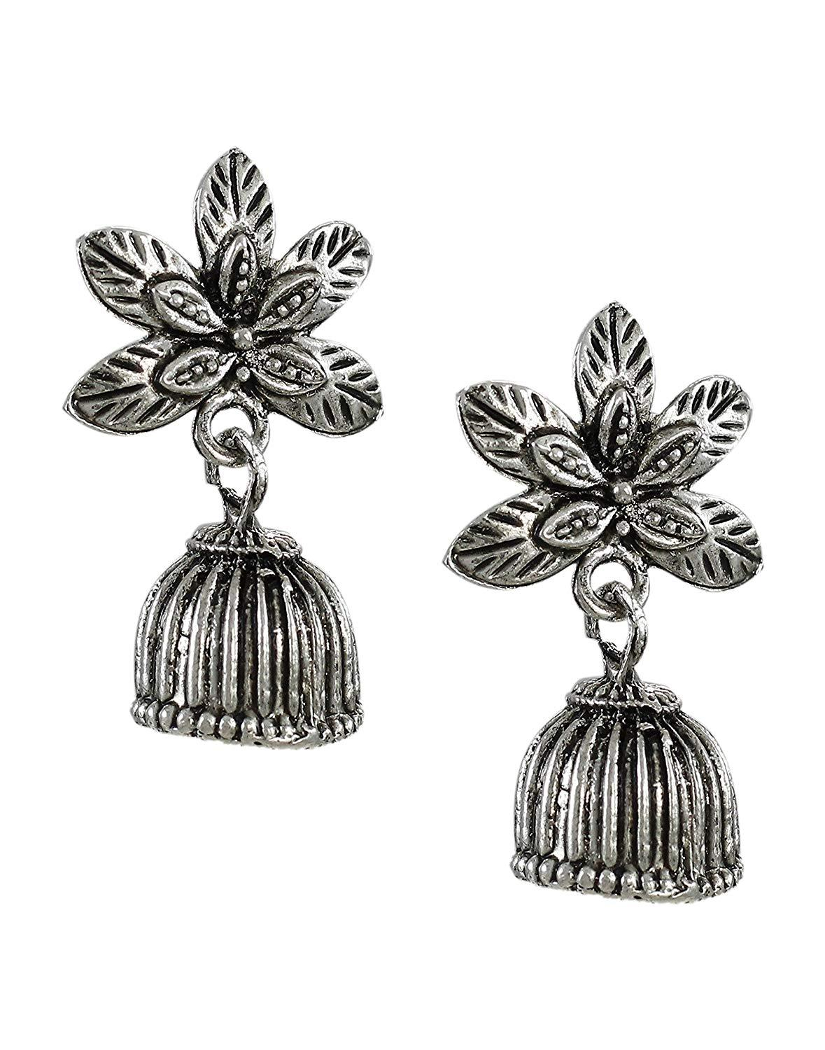 Flaray Pack Of Four Oxidised Jhumki Earrings