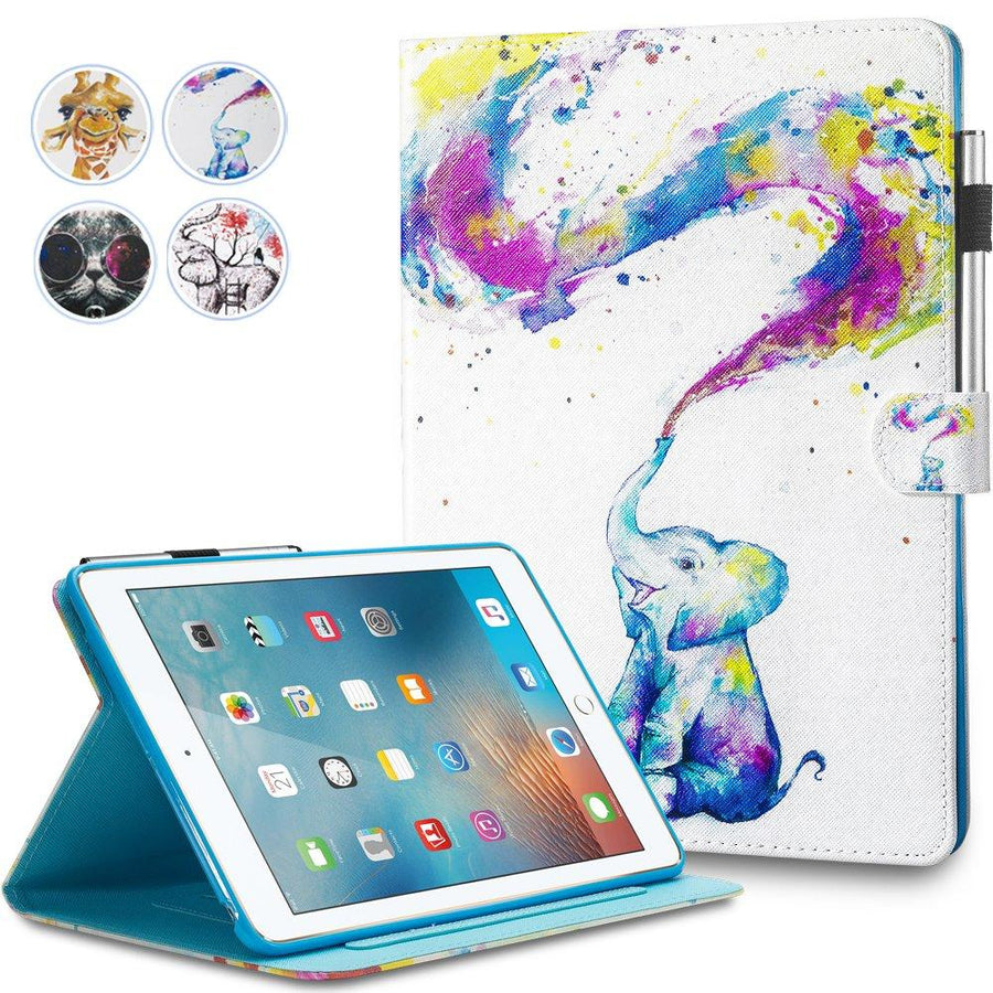 New iPad 9.7 2017 Case - Monstek Smart PU Leather Case Flip Wallet Case Cover with Kickstand Magnet Protective Case for New iPad 9.7 2017 - 05 Baby Elephant - iZiffy.com