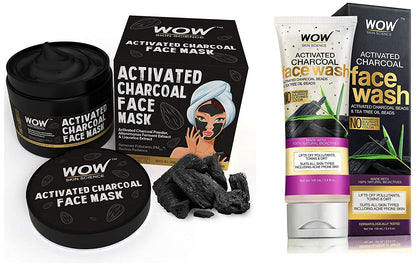 WOW Activated Charcoal Face Mask with PM 2.5 Anti-Pollution Shield No Parabens & Mineral Oil Wash Off Face Mask, 200mL - iZiffy.com