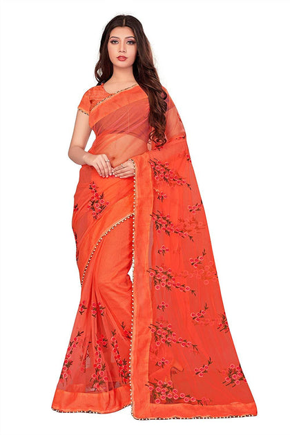 Flaray Women's Mono Net Embroidery Work Saree With Blouse Piece - iZiffy.com