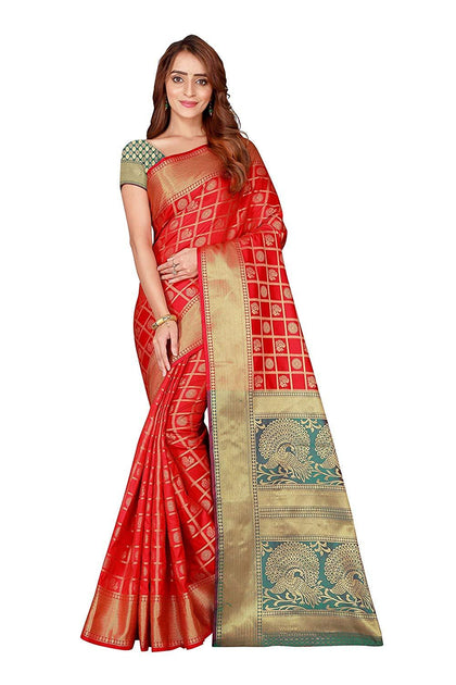 Flaray Beautiful Kanjivaram Silk Patola Saree with Blouse Piece For Women